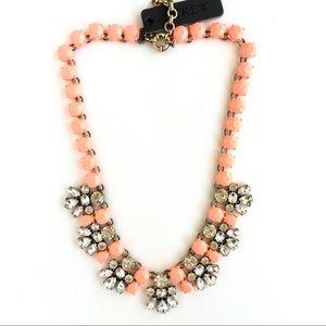 Jcrew coral painted gem statement necklace